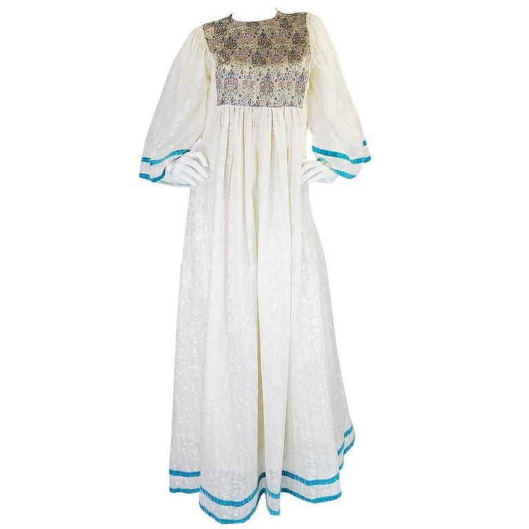 c1968-1970 Embroidered Thea Porter Silk Caftan 'Faye' Dress 1