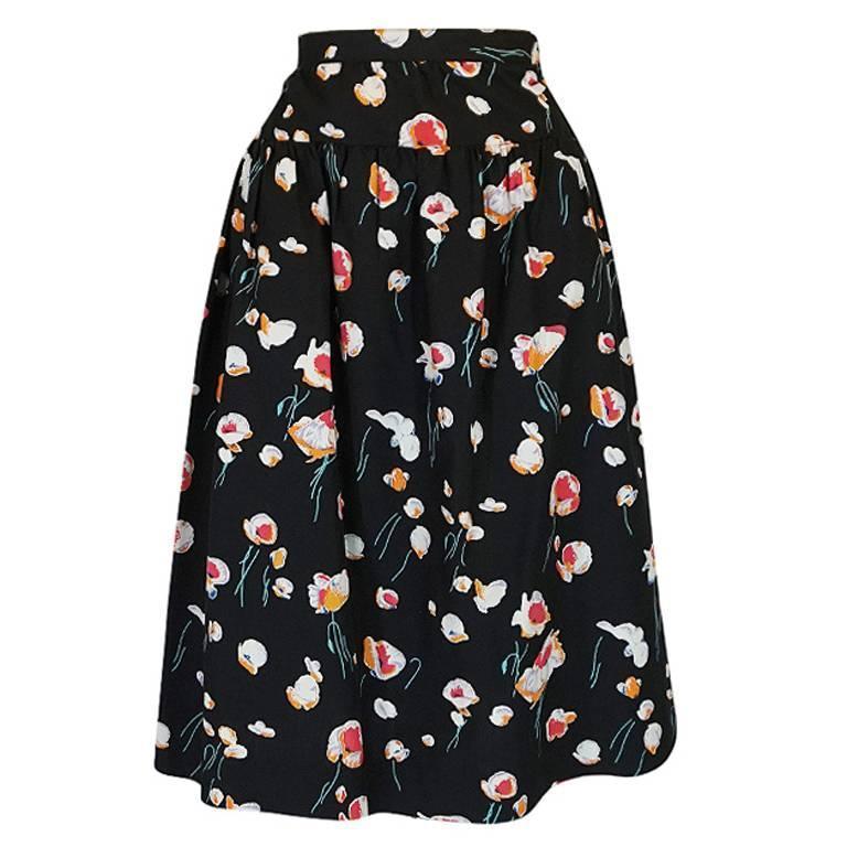 1970s Yves Saint Laurent Floral Printed Full Cotton Skirt For Sale