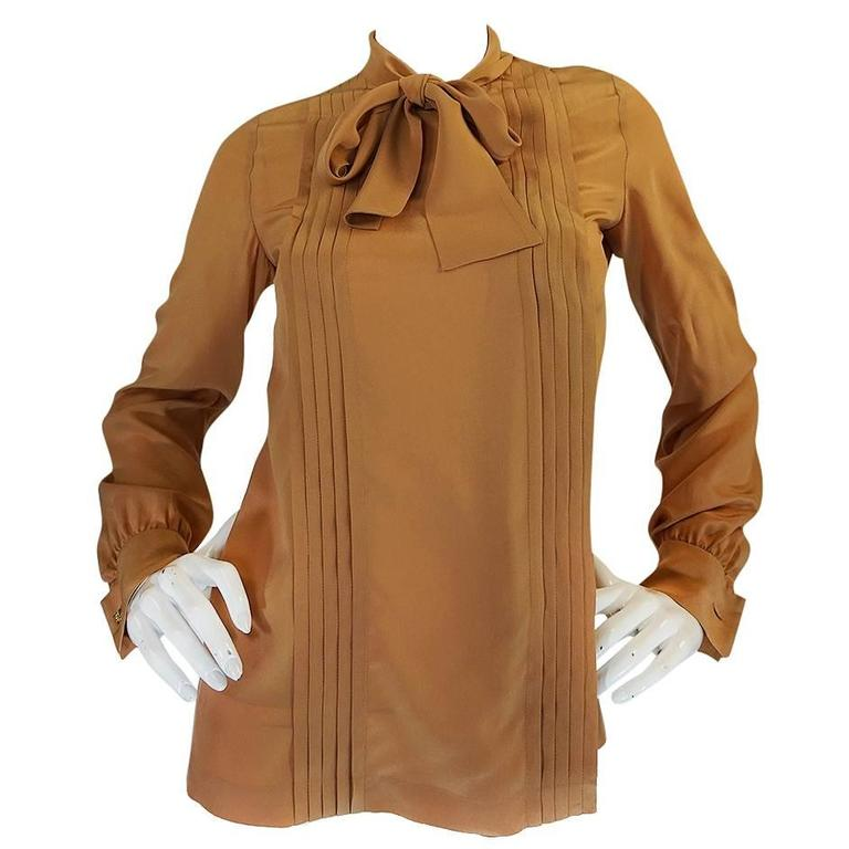 1970s Chanel Numbered True Haute Couture Silk Top For Sale