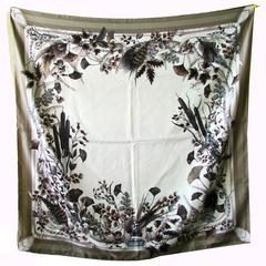 Gucci Silk Twill Scarf Feathers Floral Equestrian Print 90cm 35in New with Tags