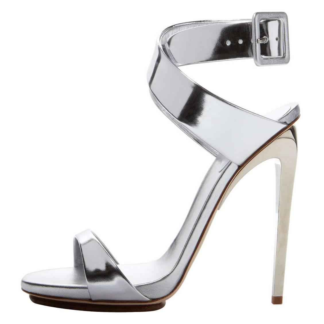 giuseppe zanotti new metallic silver leather strappy high heels sandals in box at 1stdibs. Black Bedroom Furniture Sets. Home Design Ideas