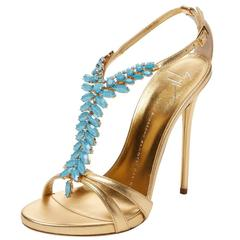 Giuseppe Zanotti NEW Gold Leather Turqoise Bead High Heels Ankle Sandals in Box
