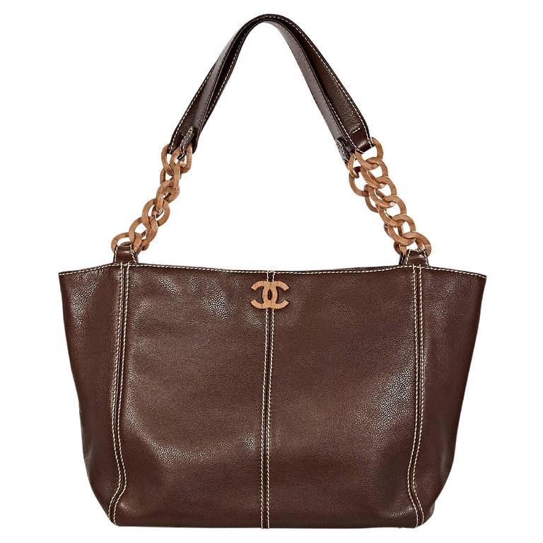 435e20a70cf7 Brown Chanel Leather Wooden-Chain Tote Bag at 1stdibs