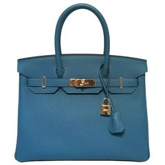 NEW 2016 Hermes Colvert Blue 30cm Togo Birkin Bag New Color