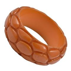Vintage Bakelite Alligator Print Bangle Bracelet