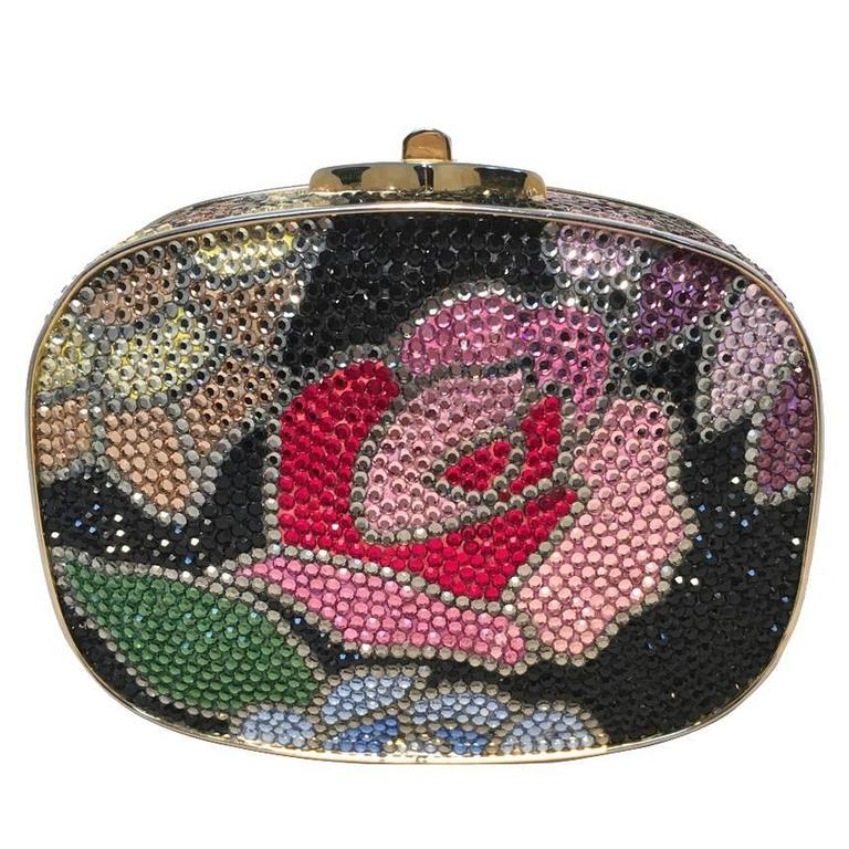 Judith Leiber Swarovski Crystal Black Floral Box Minaudiere For Sale
