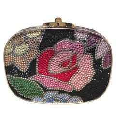 Judith Leiber Swarovski Crystal Black Floral Box Minaudiere