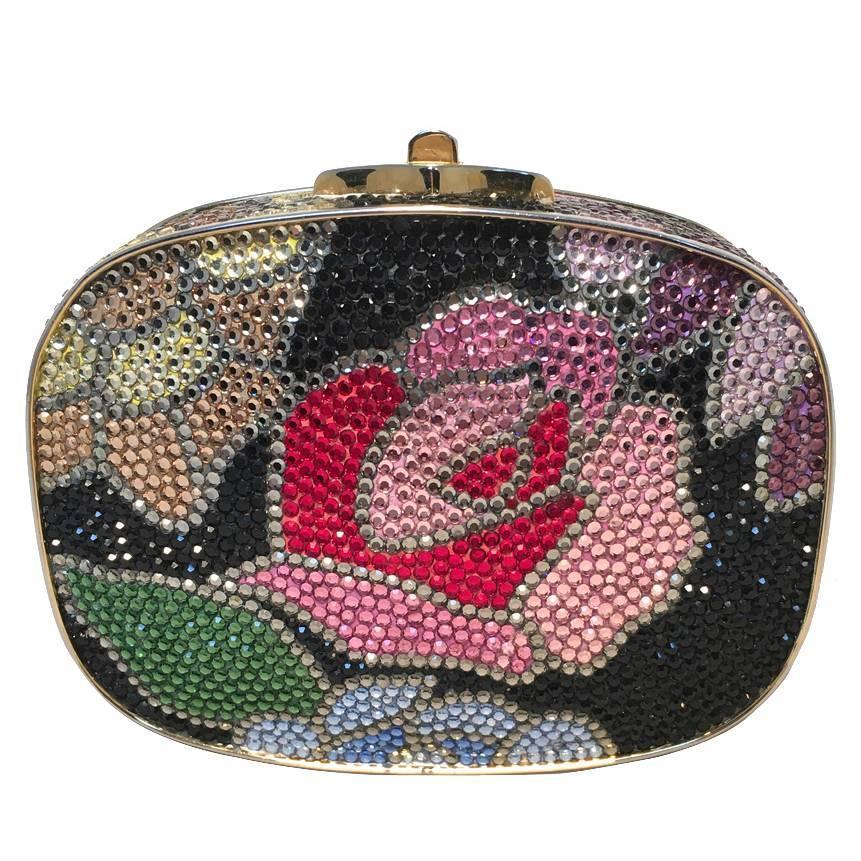 Black Flower 21st Century Op Art Set: Judith Leiber Swarovski Crystal Black Floral Box