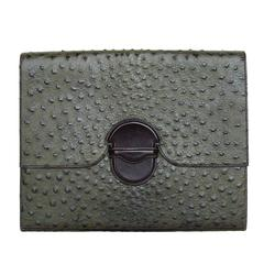 Hermes Briefcase Clutch Olive Green Ostrich RARE
