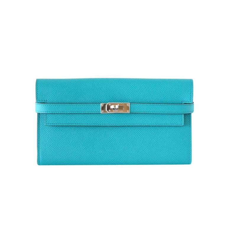 Hermes Kelly Long Wallet / Clutch Fresh Blue Paon Epsom Leather palladium