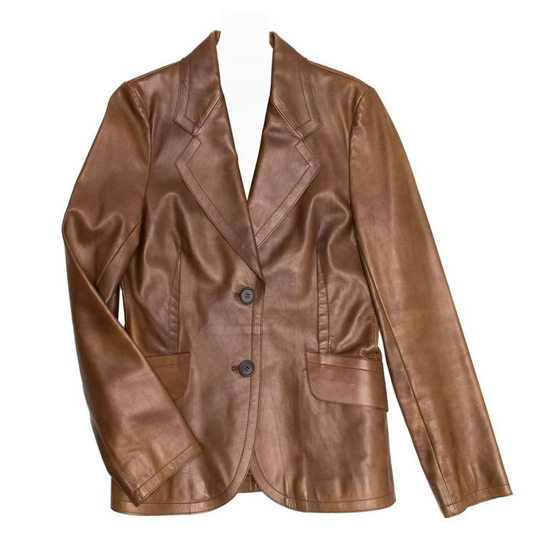 Prada Brown Semi-Distressed Leather Blazer