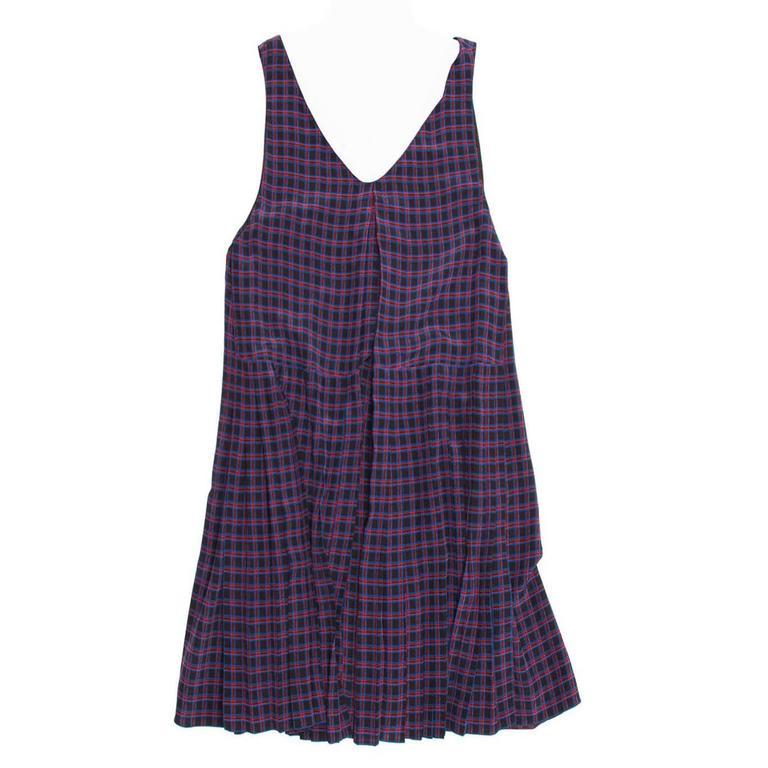 Prada Blue & Red Silk Plaid Dress