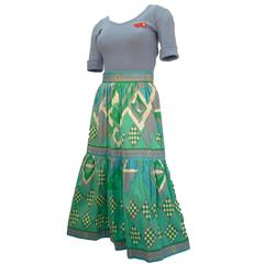 1970s Emilio Pucci Blue and Green Two-Piece Cotton T-shirt and Skirt Ensamble