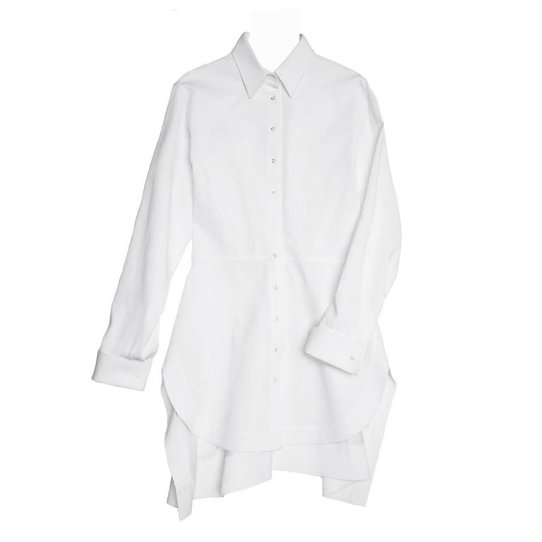 Alaïa White Twill Cotton Shirt For Sale