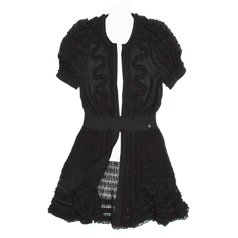 Chanel Black Knit Open Front Coat Dress