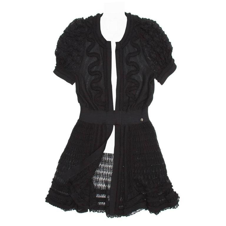 Chanel Black Knit Open Front Coat Dress 1