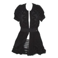 Chanel Black Knit Open Front Coat Dress