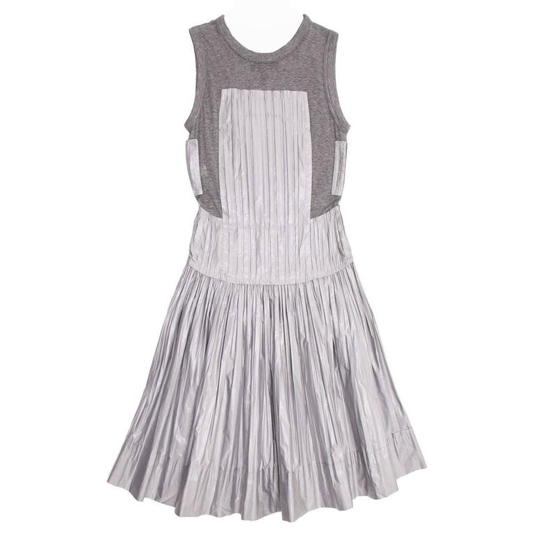 Louis Vuitton Grey Jersey And Silk Pleated Dress For Sale At 1stdibs