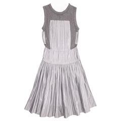 Louis Vuitton Grey Jersey & Silk Pleated Dress