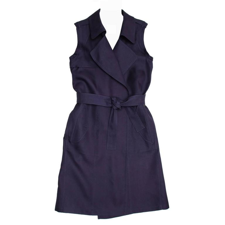 Lanvin Navy Sleeveless Trench Style Dress 1