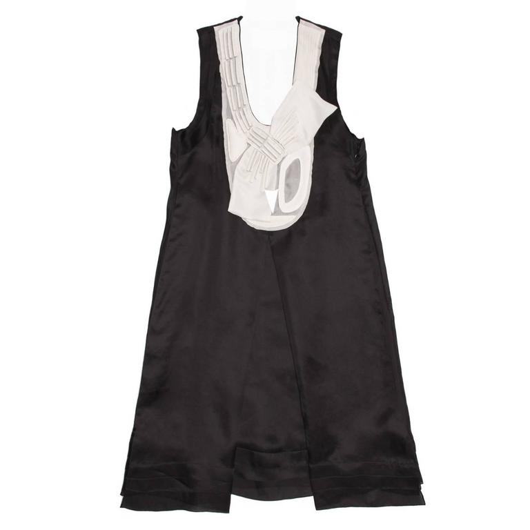 Rue Du Mail Black & White Silk Dress For Sale