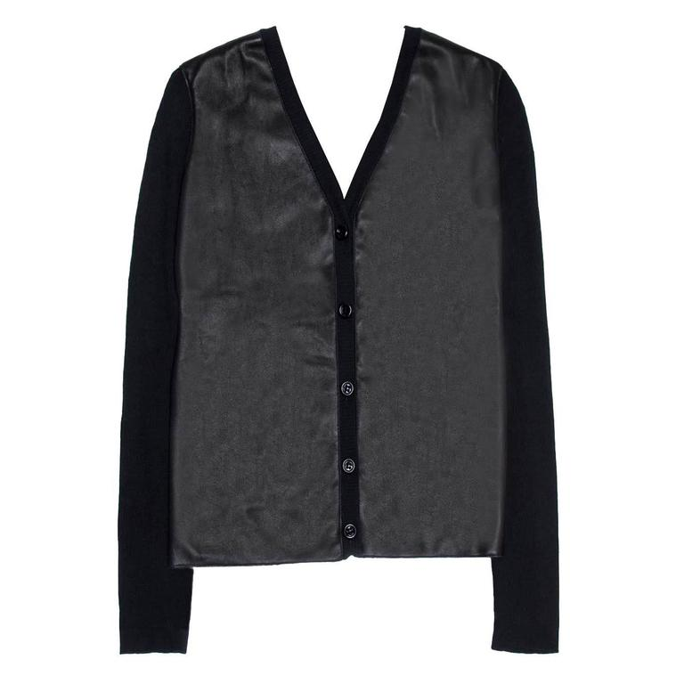 Loewe Black Cashmere & Leather Cardigan