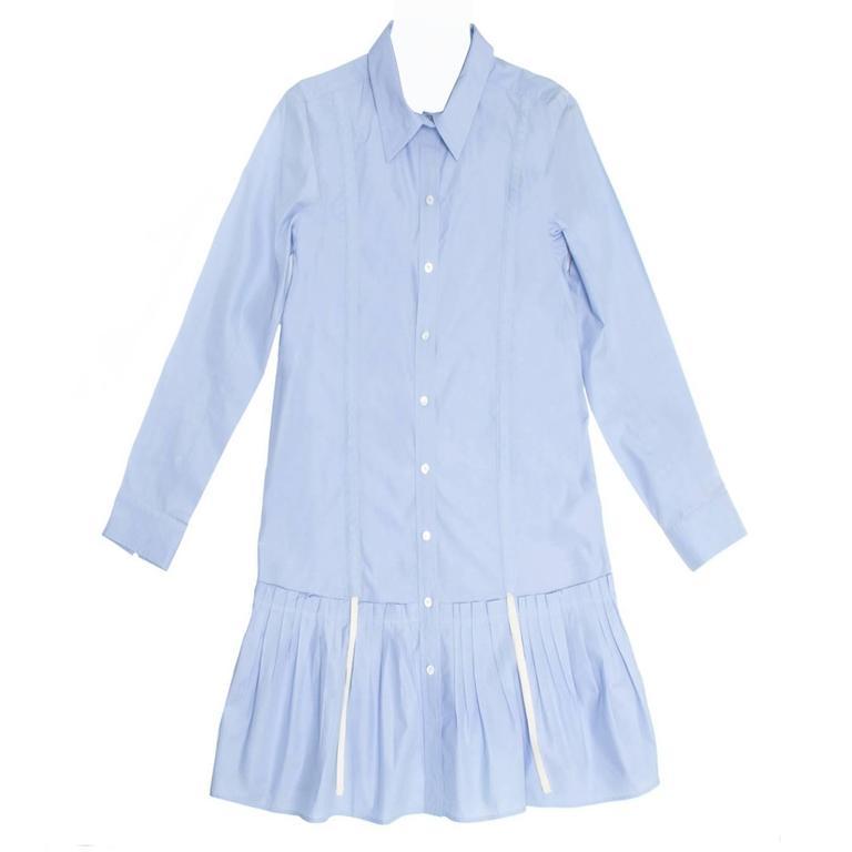 Louis Vuitton Sky Blue Pleated Shirt Dress 1