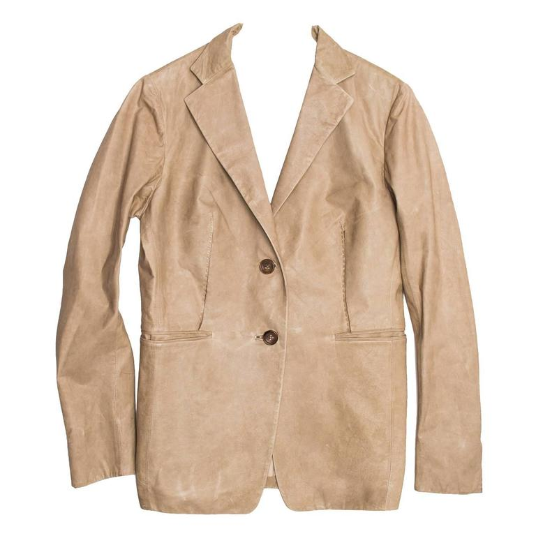 Jil Sander Sand Leather Blazer 1
