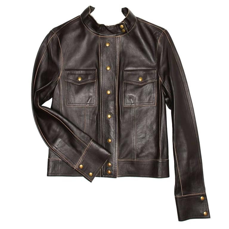 c87eeb17c969 Louis Vuitton Brown Leather Short Jacket For Sale at 1stdibs