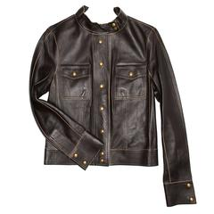 Louis Vuitton Brown Leather Short Jacket