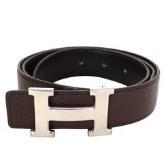 Hermes Black & Brown H Togo 32mm Belt Kit sz 90 PHW