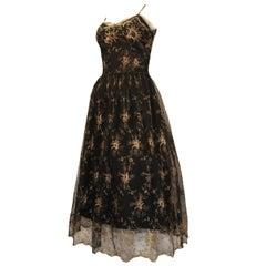1950s Emma Domb Black Lace with Gold Lamé Floral Design Cocktail dress