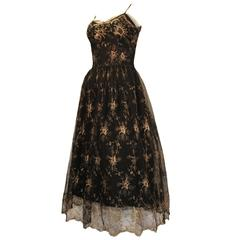 1950s Emma Domb Black Lace with Gold Lamé Floral Design Cocktail dress