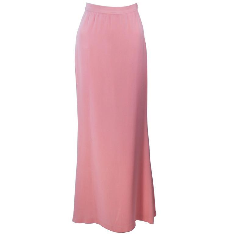 YVES SAINT LAURENT 1980's Pink Full Length Skirt Size 38