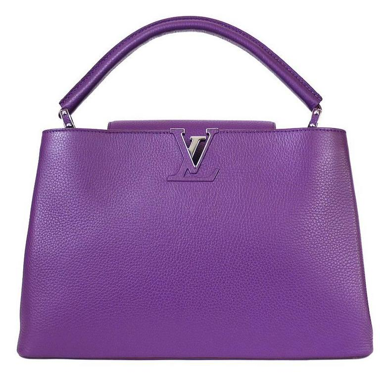 Louis Vuitton Capucines MM Handbag Tote Violet For Sale