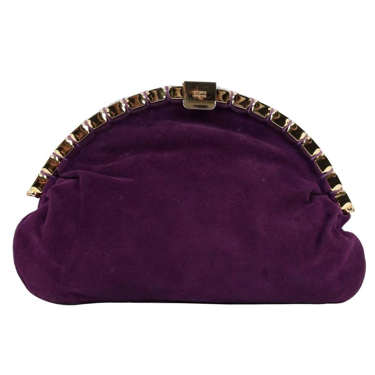 top-rated discount special selection of various styles ANDREA PFISTER Vintage Purple Suede CLUTCH Handbag BAG w/ SHOULDER STRAP