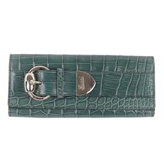 GUCCI Green EMBOSSED CROC LOOK Leather CLUTCH Purse or WALLET Pouch