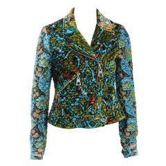 Louis Vuitton Blue Multicolor Velvet Printed Bomber Jacket (Size 38)