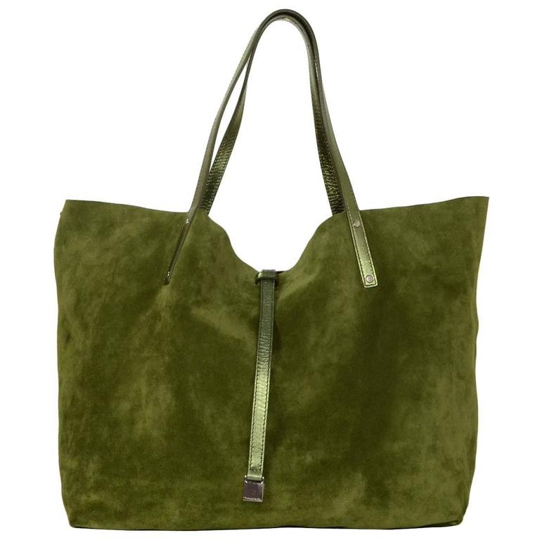 Metallic Green Leather Army Suede Reversible Tote Bag Shw For