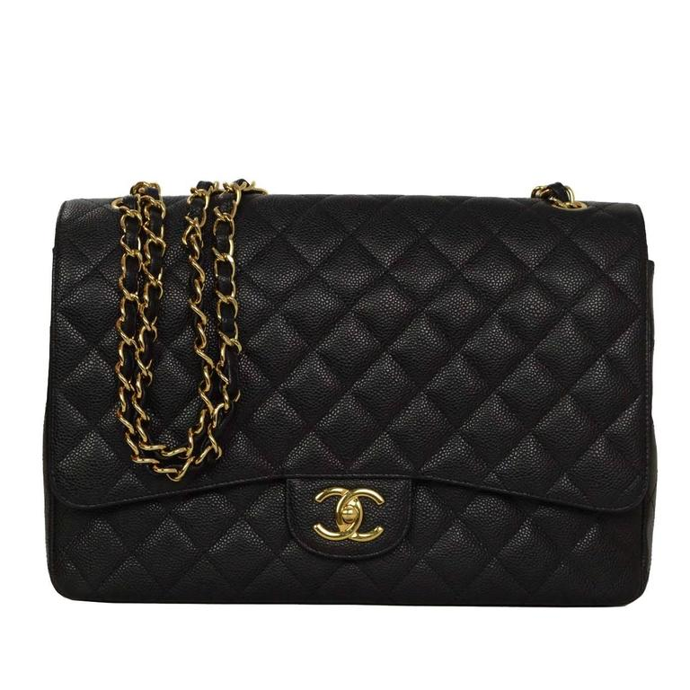 Chanel Black Quilted Caviar Classic Maxi Double Flap Bag GHW For Sale