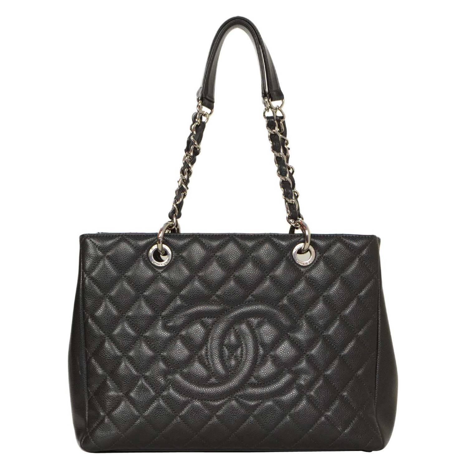 chanel charcoal quilted caviar gst grand shopper tote bag shw at 1stdibs. Black Bedroom Furniture Sets. Home Design Ideas