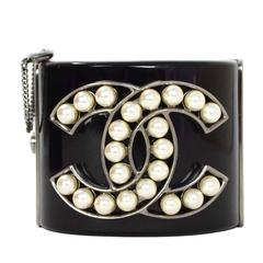 Chanel Pearl & Black Resin CC Cuff Bracelet RHW