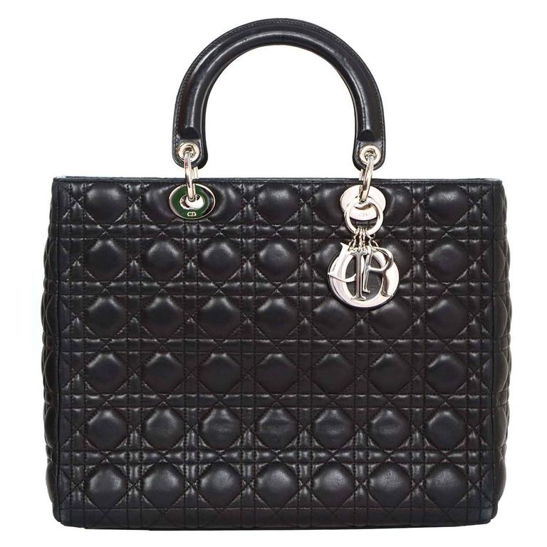 b0e65984132a Christian Dior Black Quilted Leather Large Lady Dior Tote Bag SHW For Sale