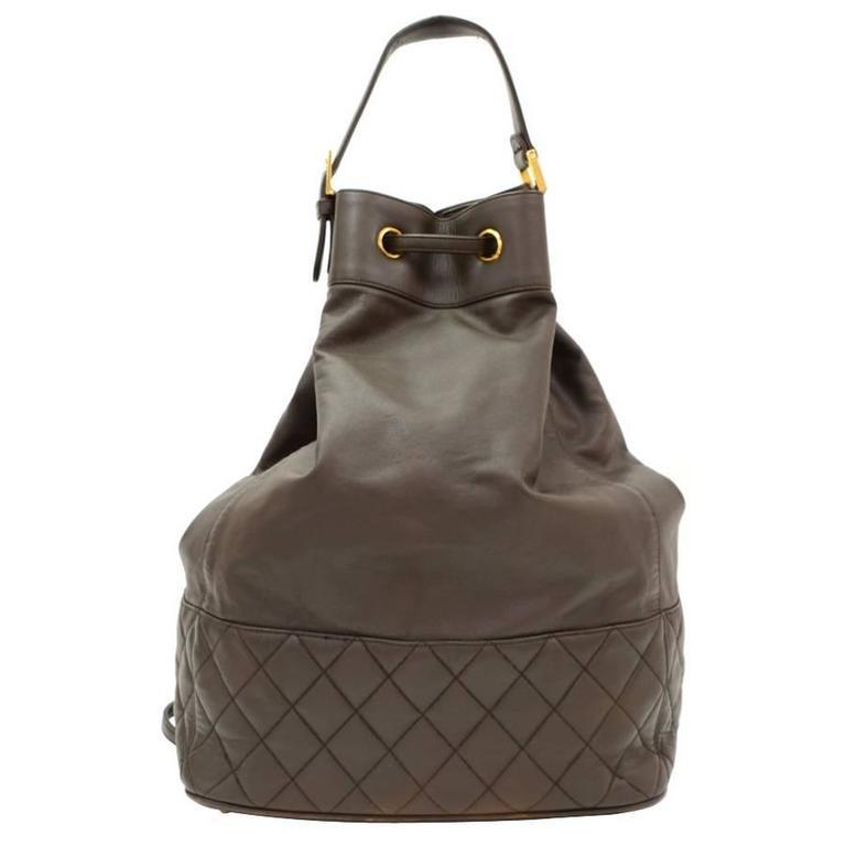 Vintage Chanel Dark Brown Leather Large Bucket Backpack For Sale