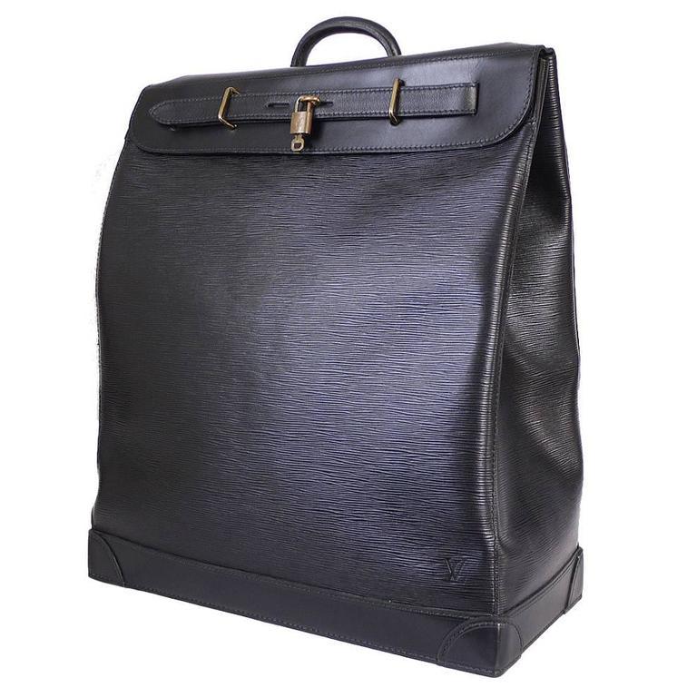 Louis Vuitton Black Epi Steamer 45 Travel Bag 1990s
