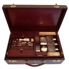 Rare 1940's Louis Vuitton Burgundy Leather Double Vanity Travelling Case