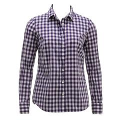 J Crew Purple and White Long Sleeve Plaid Button Top (Size 2)