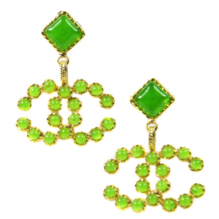 1990's Vintage Chanel Green and Gold Gripoix Earrings  1