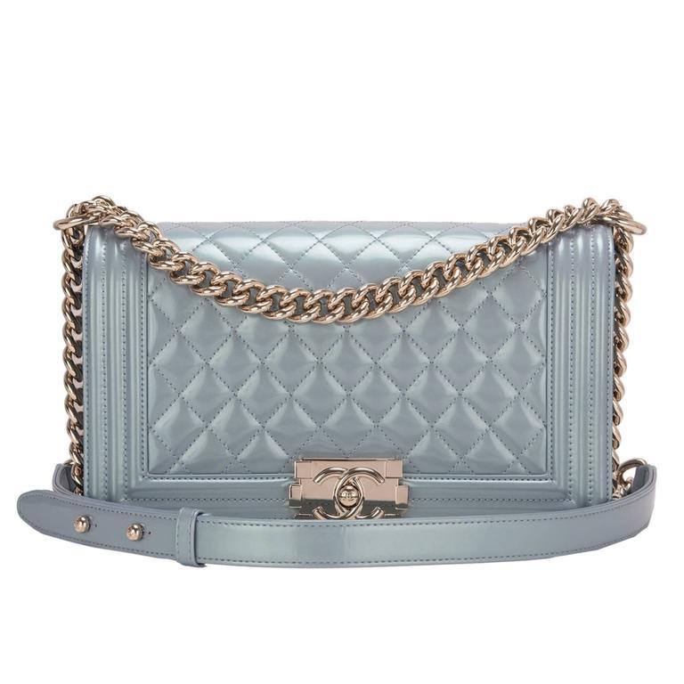 Chanel Light Blue Iridescent Calfskin Medium Boy Bag For Sale