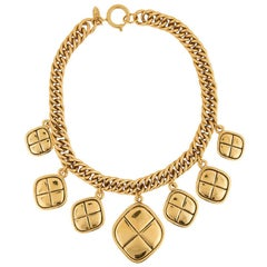 Chanel Gold Quilted Charm Choker Necklace